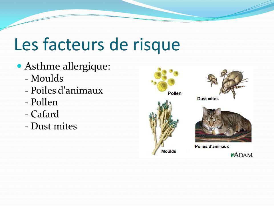 Les facteurs de risque Asthme allergique: - Moulds - Poiles d'animaux - Pollen - Cafard - Dust mites