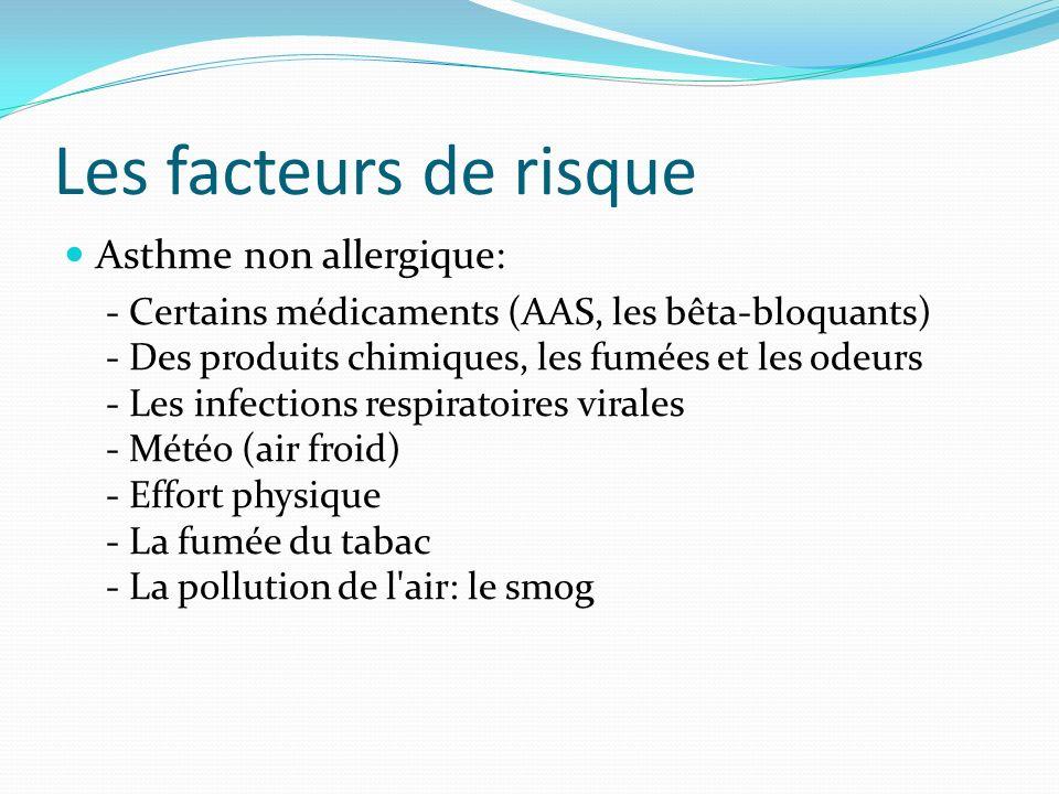 Les facteurs de risque Asthme non allergique: - Certains médicaments (AAS, les bêta-bloquants) - Des produits chimiques, les fumées et les odeurs - Le