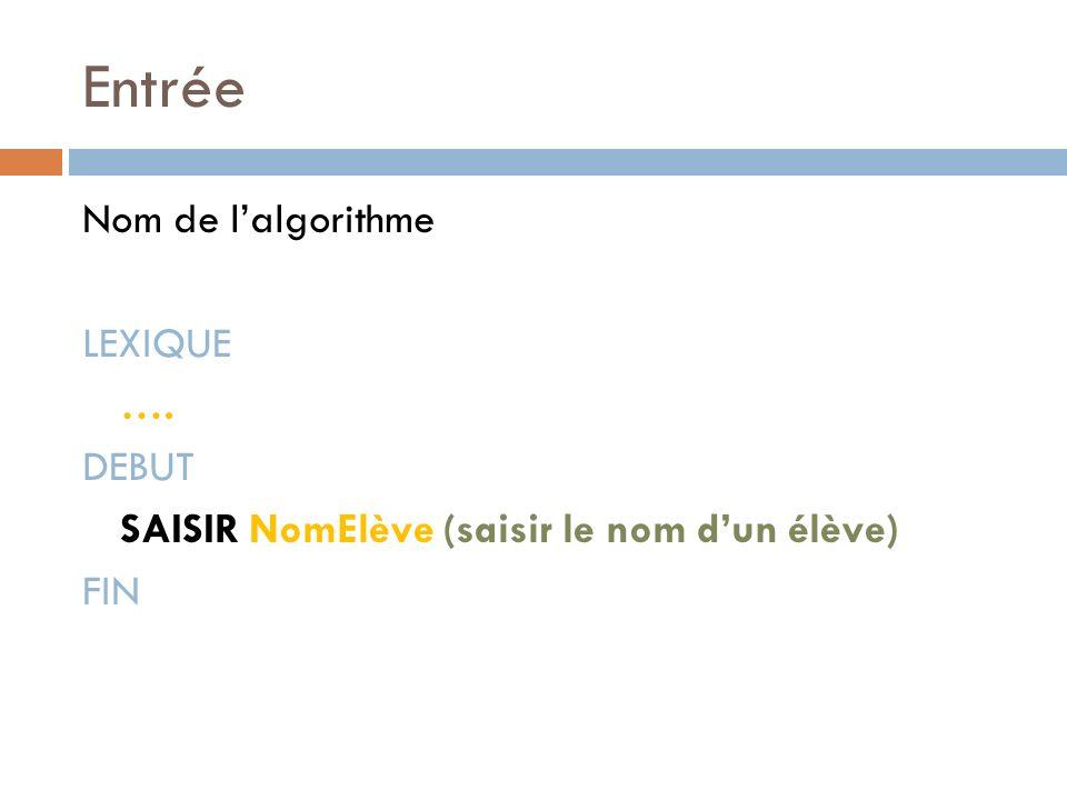 Entrée Nom de lalgorithme LEXIQUE …. DEBUT SAISIR NomElève (saisir le nom dun élève) FIN