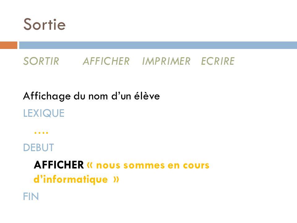 Sortie SORTIRAFFICHERIMPRIMERECRIRE Affichage du nom dun élève LEXIQUE …. DEBUT AFFICHER « nous sommes en cours dinformatique » FIN