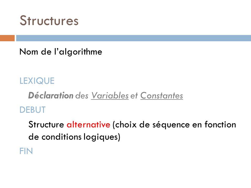 Structures Nom de lalgorithme LEXIQUE Déclaration des Variables et Constantes DEBUT Structure alternative (choix de séquence en fonction de conditions