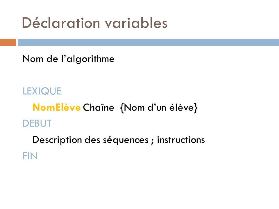 Déclaration variables Nom de lalgorithme LEXIQUE NomElève Chaîne {Nom dun élève} DEBUT Description des séquences ; instructions FIN