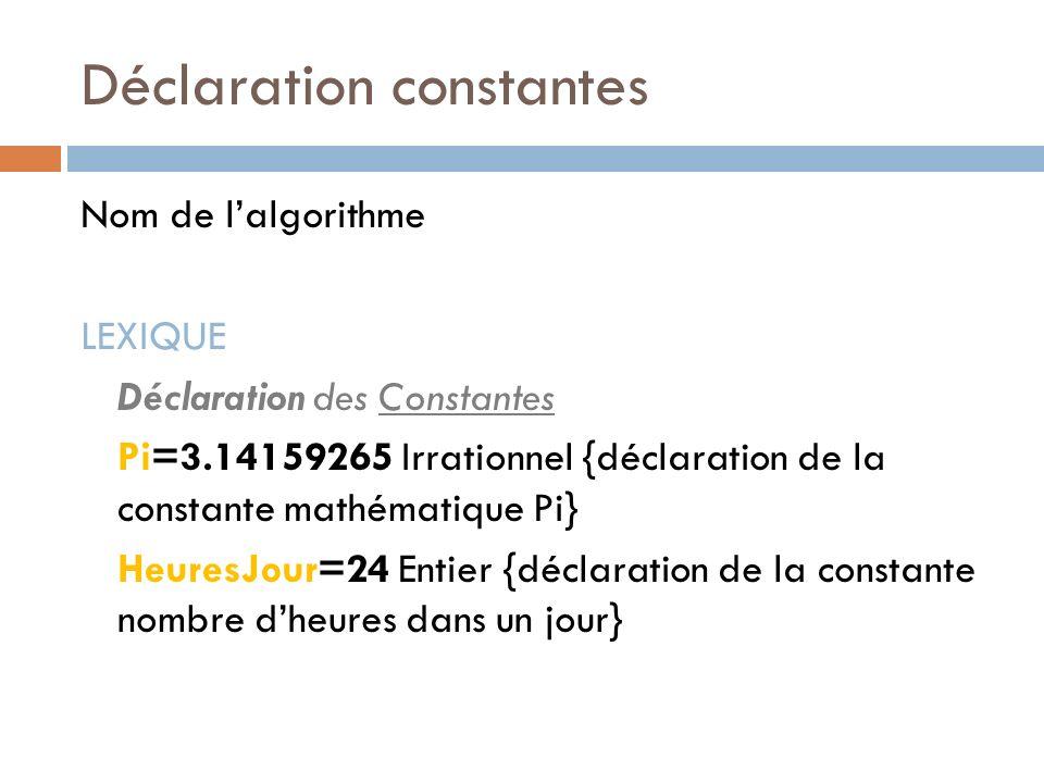 Déclaration constantes Nom de lalgorithme LEXIQUE Déclaration des Constantes Pi=3.14159265 Irrationnel {déclaration de la constante mathématique Pi} H