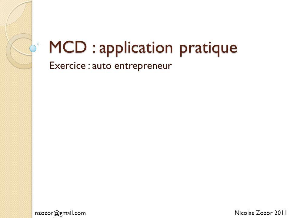 MCD : application pratique Exercice : auto entrepreneur Nicolas Zozor 2011nzozor@gmail.com