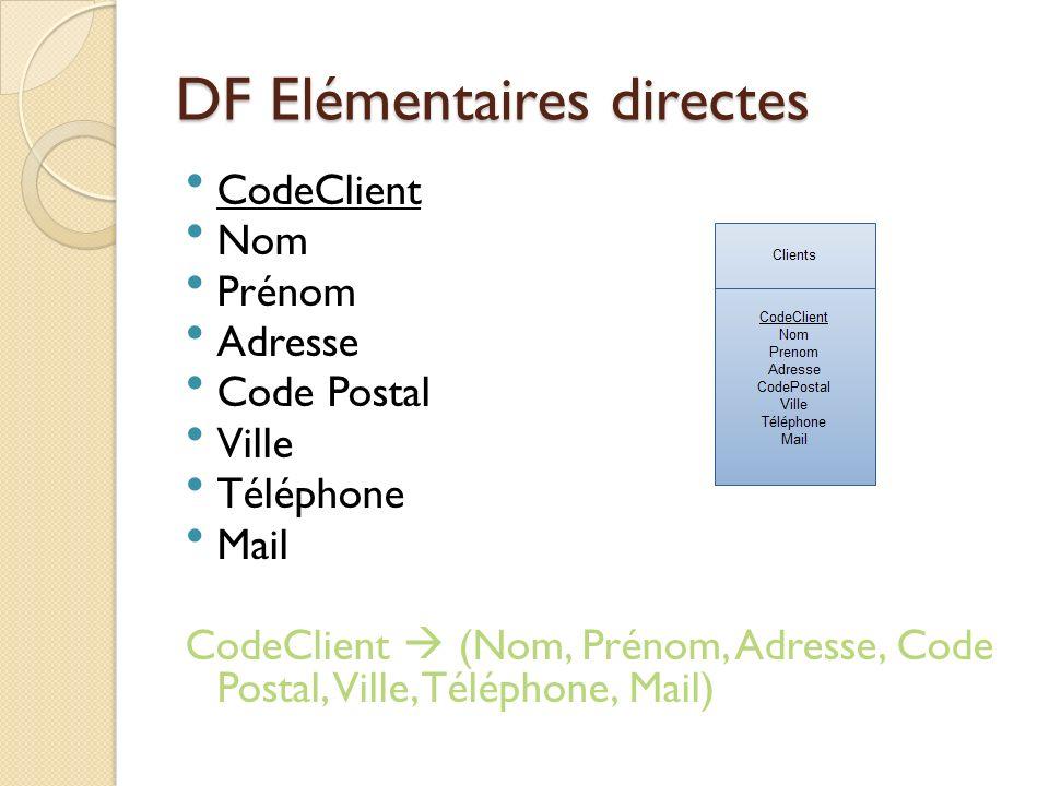 DF Elémentaires directes Code Client NomPréno m Adress e CodeP ostal VilleTéléph one Mail 1xxx 2yyy 3zzz occurrences