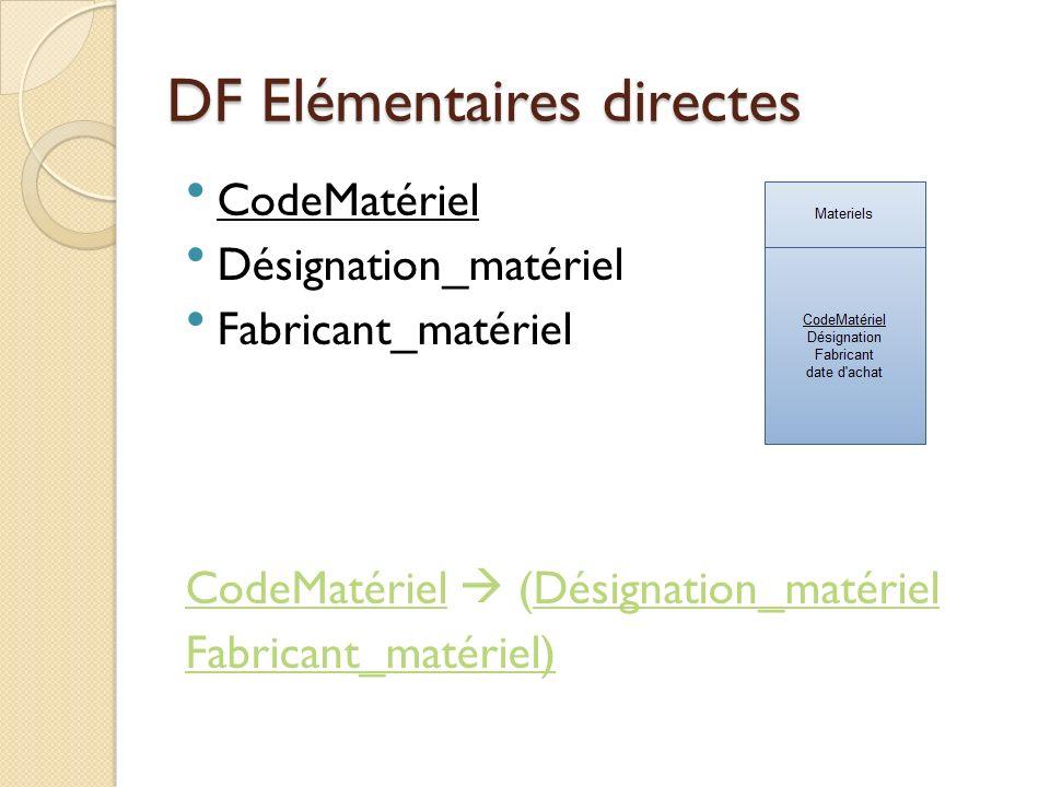 DF Elémentaires directes CodeMatér iel Designatio n FabricantDate achat 1PC_portableAsus12-12-2010 2SmartphoneApple05-06-2009 3PC_portableAcer06-07-2009