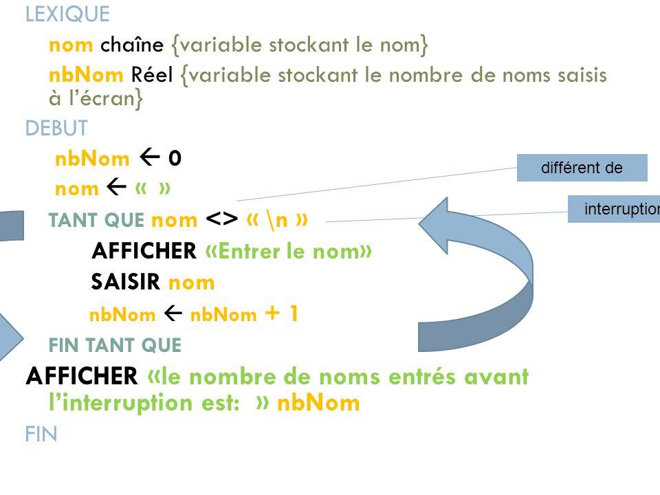 LEXIQUE nom chaîne {variable stockant le nom} nbNom Réel {variable stockant le nombre de noms saisis à lécran} DEBUT nbNom 0 nom « » TANT QUE nom <> «