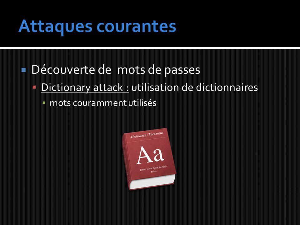 Découverte de mots de passes Dictionary attack : utilisation de dictionnaires mots couramment utilisés