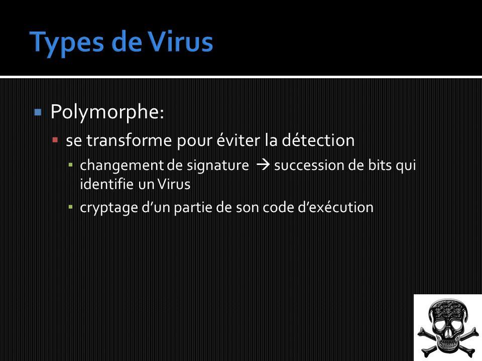 Polymorphe: se transforme pour éviter la détection changement de signature succession de bits qui identifie un Virus cryptage dun partie de son code dexécution