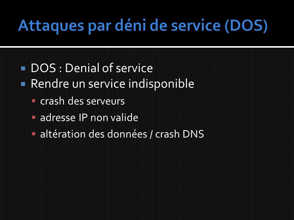 DOS : Denial of service Rendre un service indisponible crash des serveurs adresse IP non valide altération des données / crash DNS