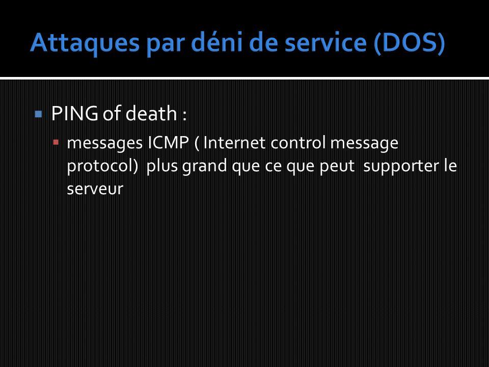 PING of death : messages ICMP ( Internet control message protocol) plus grand que ce que peut supporter le serveur
