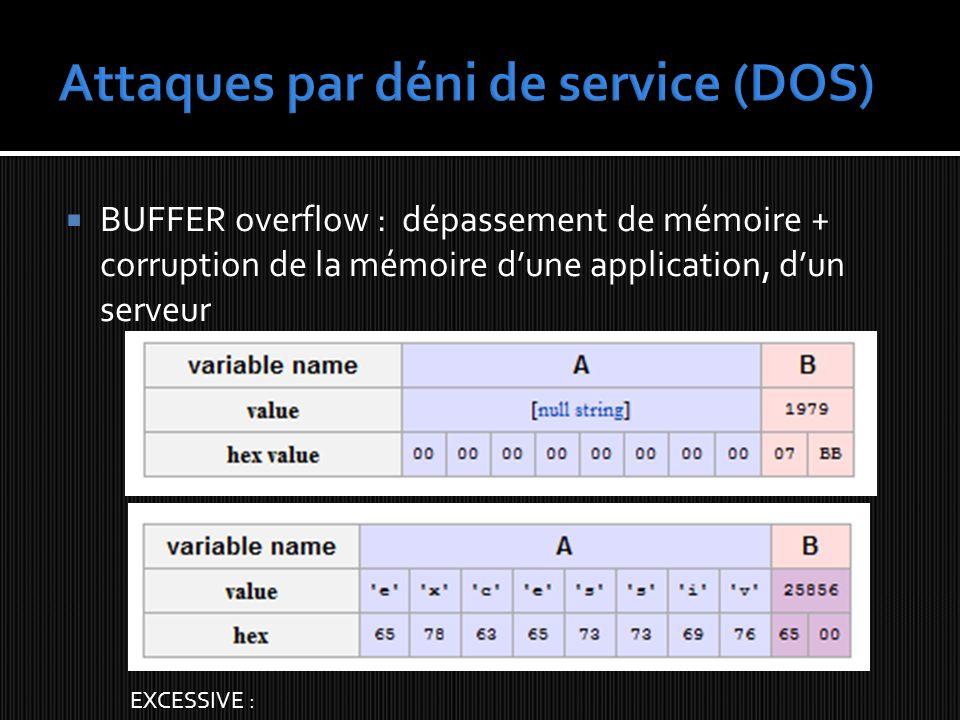 BUFFER overflow : dépassement de mémoire + corruption de la mémoire dune application, dun serveur EXCESSIVE :