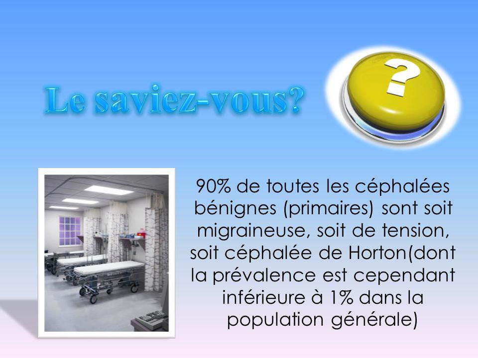 90% de toutes les céphalées bénignes (primaires) sont soit migraineuse, soit de tension, soit céphalée de Horton(dont la prévalence est cependant infé