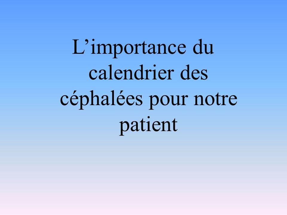 Limportance du calendrier des céphalées pour notre patient