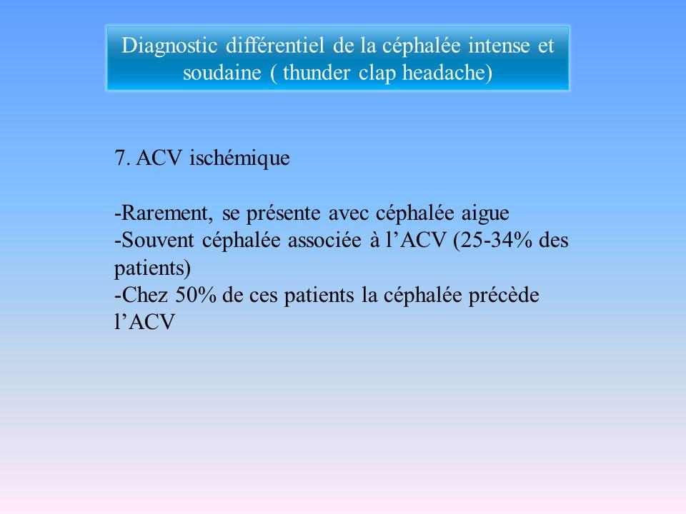7. ACV ischémique -Rarement, se présente avec céphalée aigue -Souvent céphalée associée à lACV (25-34% des patients) -Chez 50% de ces patients la céph