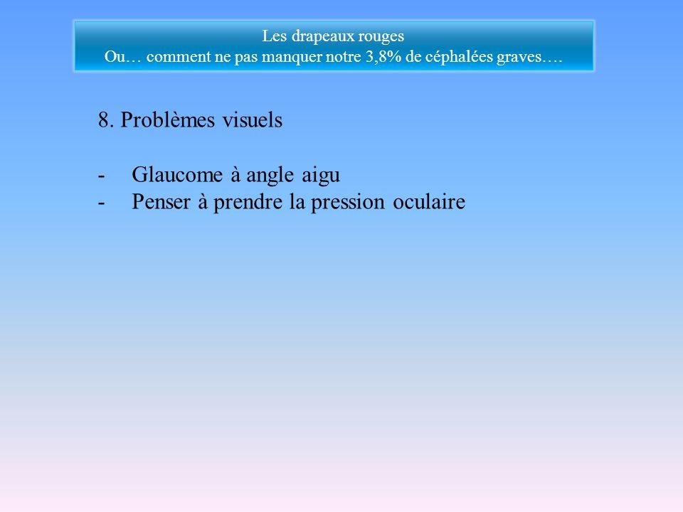 8. Problèmes visuels -Glaucome à angle aigu -Penser à prendre la pression oculaire Les drapeaux rouges Ou… comment ne pas manquer notre 3,8% de céphal
