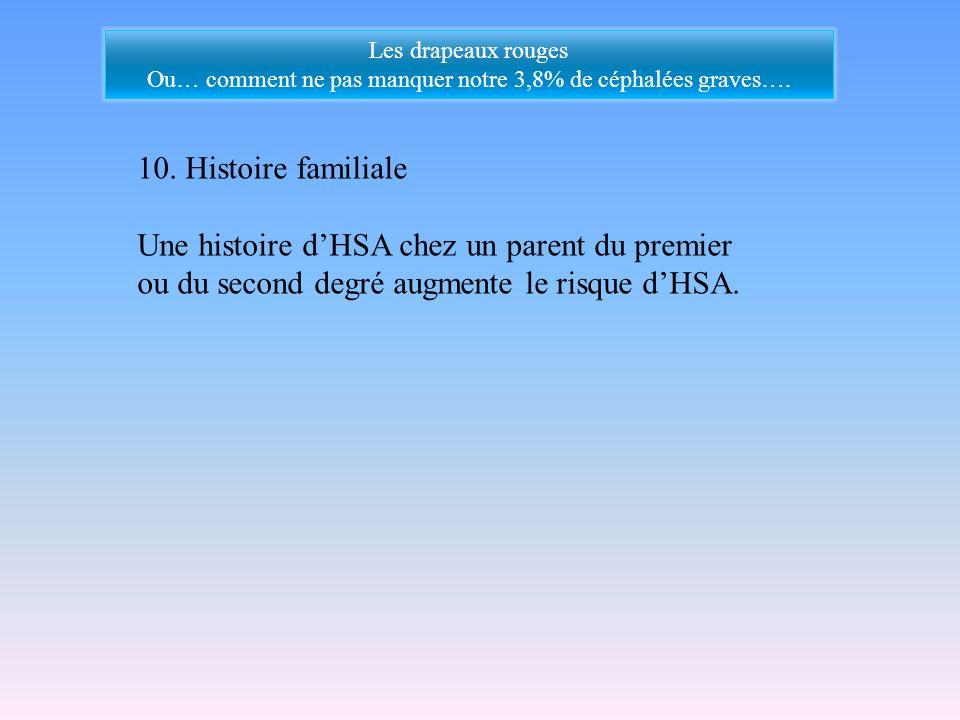 10. Histoire familiale Une histoire dHSA chez un parent du premier ou du second degré augmente le risque dHSA. Les drapeaux rouges Ou… comment ne pas
