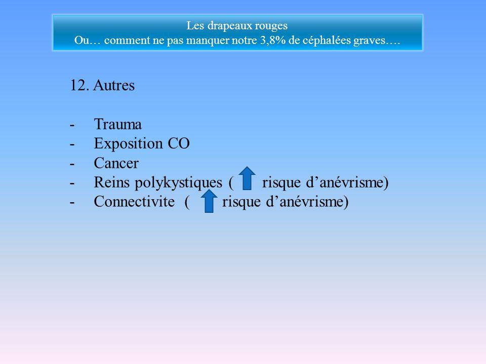 12. Autres -Trauma -Exposition CO -Cancer -Reins polykystiques ( risque danévrisme) -Connectivite ( risque danévrisme) Les drapeaux rouges Ou… comment