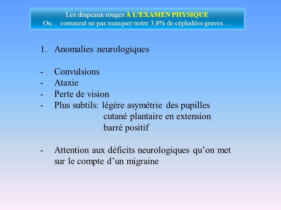 1.Anomalies neurologiques -Convulsions -Ataxie -Perte de vision -Plus subtils: légère asymétrie des pupilles cutané plantaire en extension barré posit
