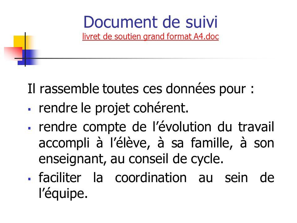 Document de suivi livret de soutien grand format A4.doc livret de soutien grand format A4.doc Il rassemble toutes ces données pour : rendre le projet