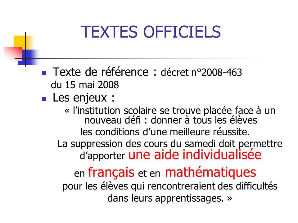 TEXTES OFFICIELS Texte de référence : décret n°2008-463 du 15 mai 2008 Les enjeux : « linstitution scolaire se trouve placée face à un nouveau défi :