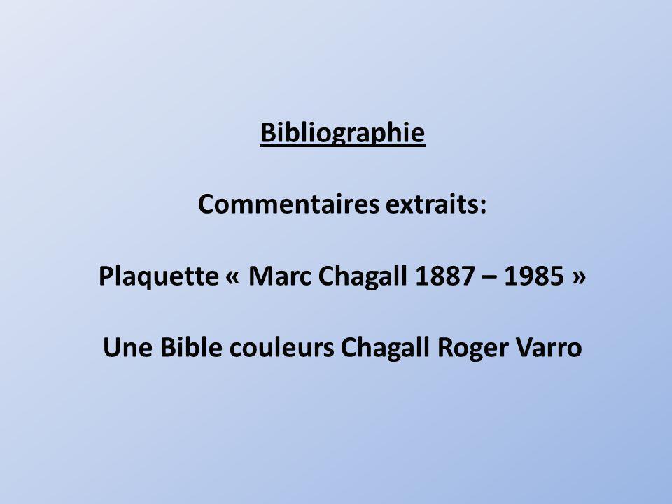 Bibliographie Commentaires extraits: Plaquette « Marc Chagall 1887 – 1985 » Une Bible couleurs Chagall Roger Varro