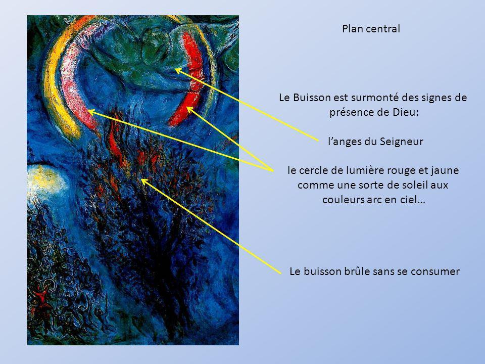 Plan central Le Buisson est surmonté des signes de présence de Dieu: langes du Seigneur le cercle de lumière rouge et jaune comme une sorte de soleil