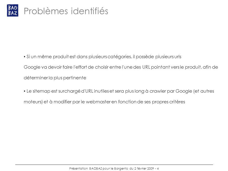 Présentation BAOBAZ pour le Bargento du 2 février 2009 - 4 Problèmes identifiés Si un même produit est dans plusieurs catégories, il possède plusieurs urls Google va devoir faire l effort de choisir entre l une des URL pointant vers le produit, afin de déterminer la plus pertinente Le sitemap est surchargé d URL inutiles et sera plus long à crawler par Google (et autres moteurs) et à modifier par le webmaster en fonction de ses propres critères