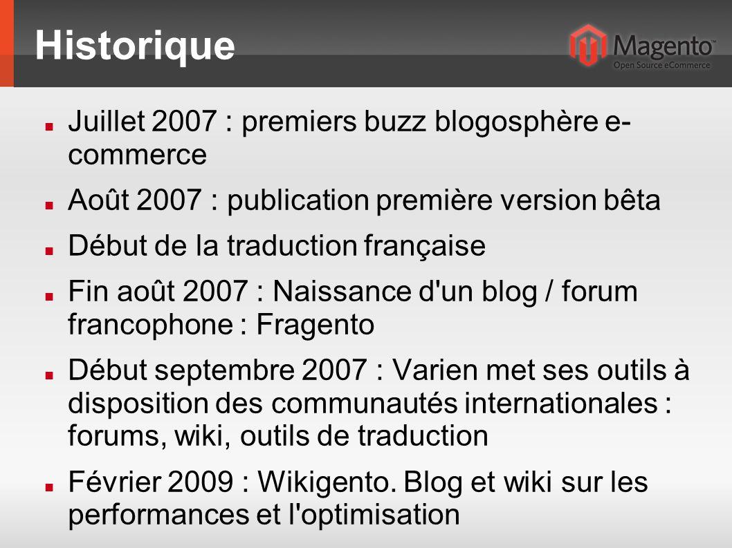 Historique Juillet 2007 : premiers buzz blogosphère e- commerce Août 2007 : publication première version bêta Début de la traduction française Fin aoû