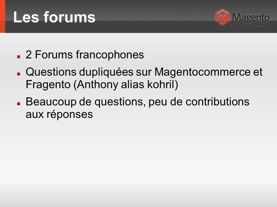 Les forums 2 Forums francophones Questions dupliquées sur Magentocommerce et Fragento (Anthony alias kohril) Beaucoup de questions, peu de contributions aux réponses