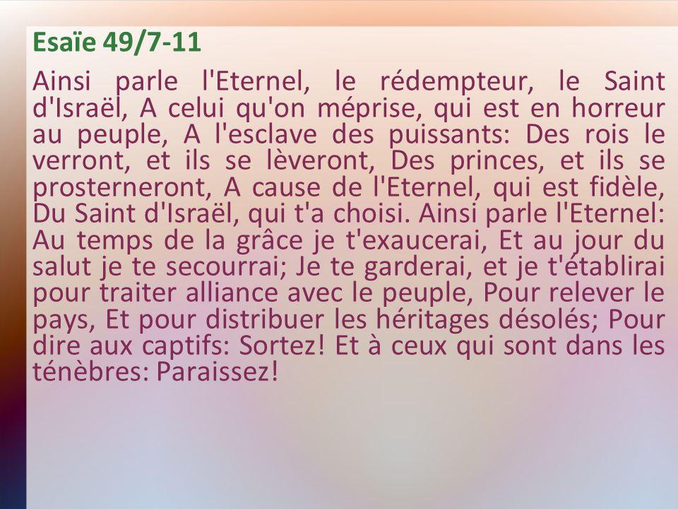 Esaïe 49/7-11 Ainsi parle l'Eternel, le rédempteur, le Saint d'Israël, A celui qu'on méprise, qui est en horreur au peuple, A l'esclave des puissants: