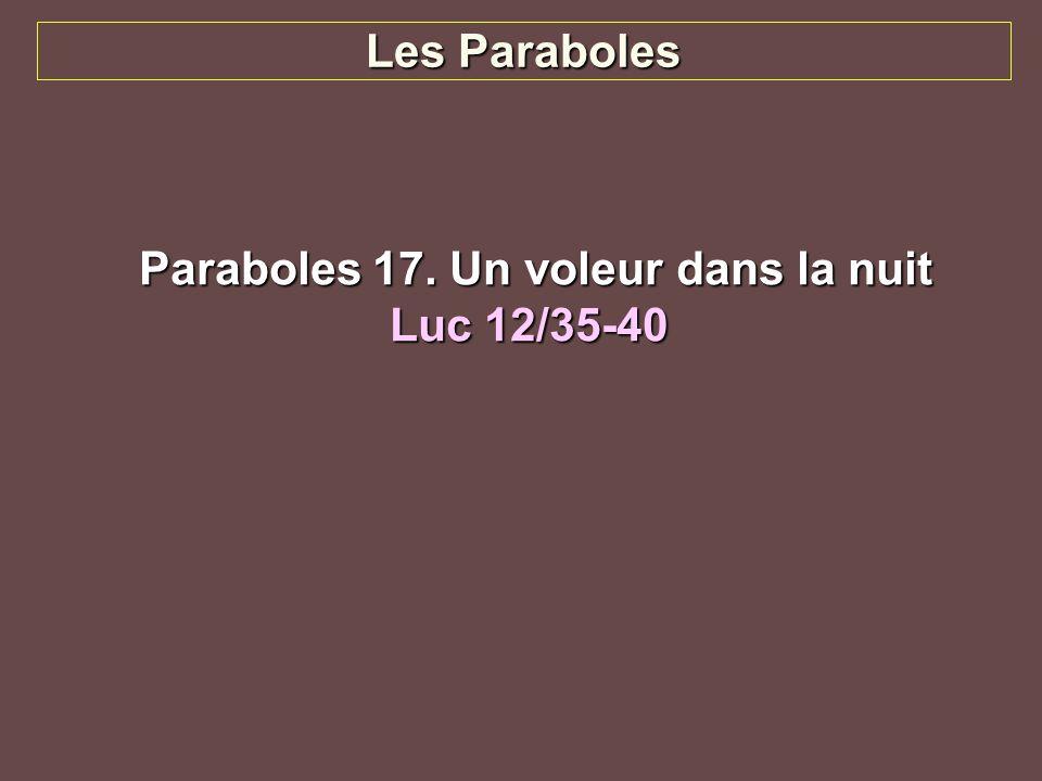 Les Paraboles Paraboles 17. Un voleur dans la nuit Paraboles 17. Un voleur dans la nuit Luc 12/35-40