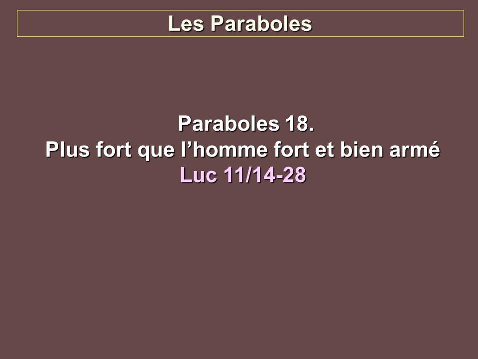 Plus fort que lhomme fort et bien armé Luc 11/14-28 Jésus chassa un démon qui était muet.