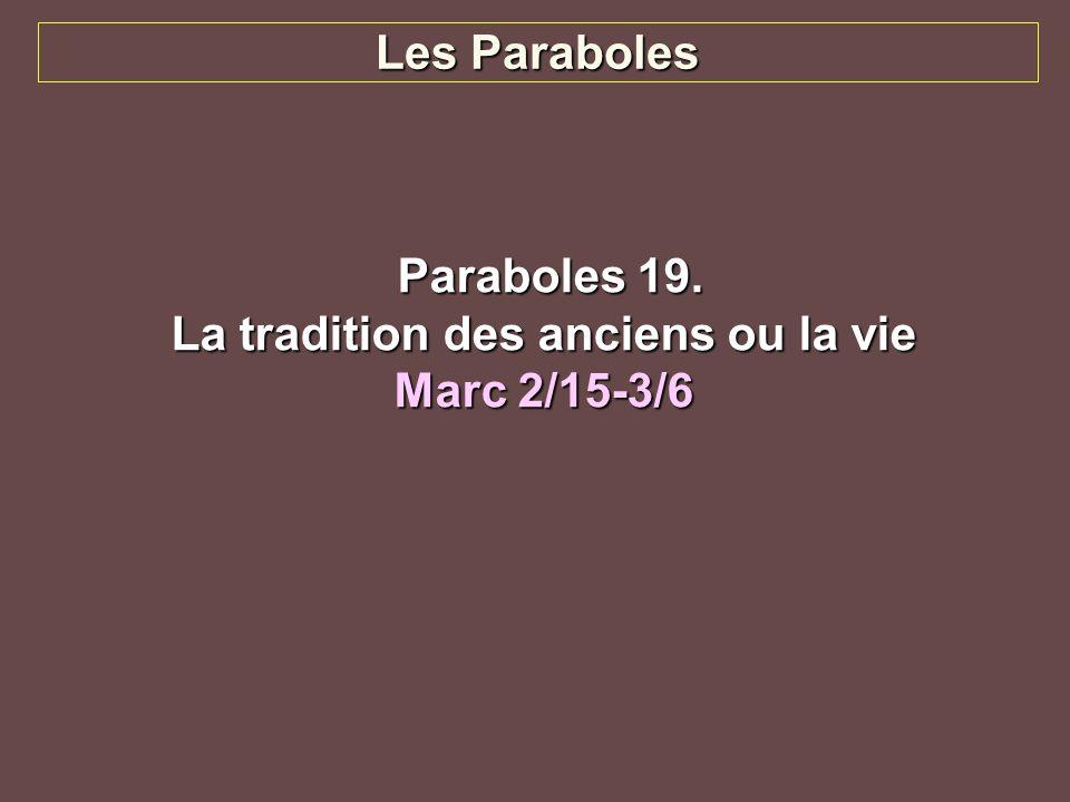 Les Paraboles Paraboles 19. Paraboles 19. La tradition des anciens ou la vie Marc 2/15-3/6