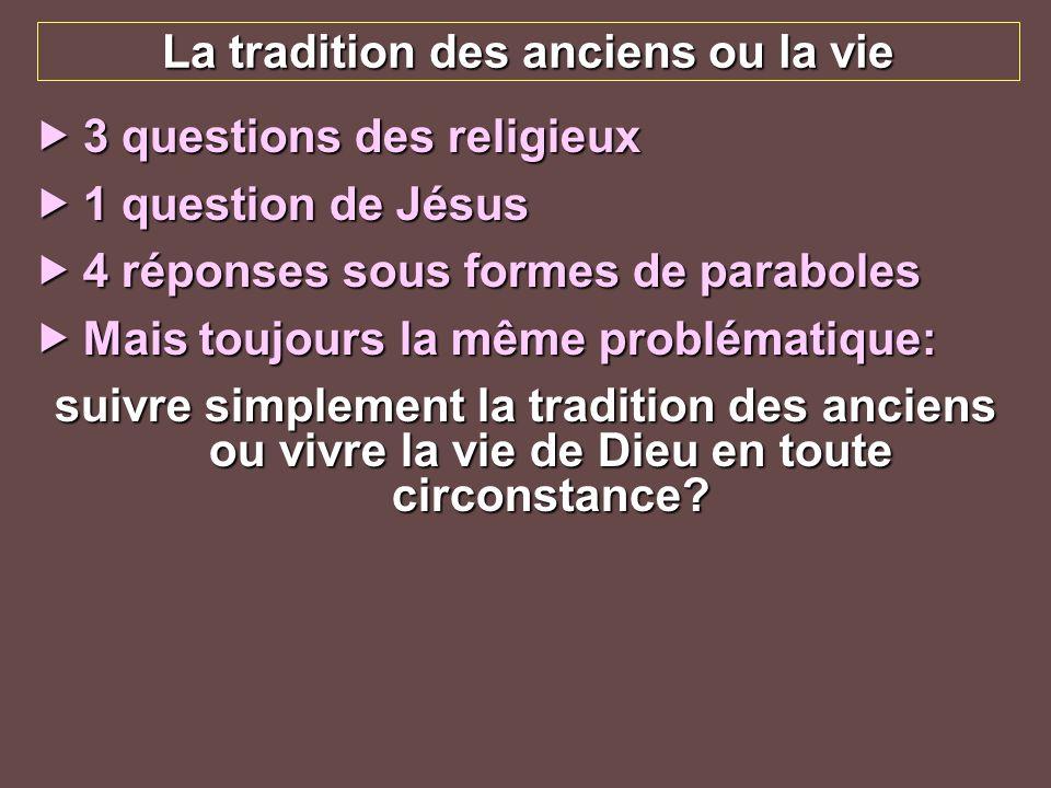 La tradition des anciens ou la vie 3 questions des religieux 3 questions des religieux 1 question de Jésus 1 question de Jésus 4 réponses sous formes