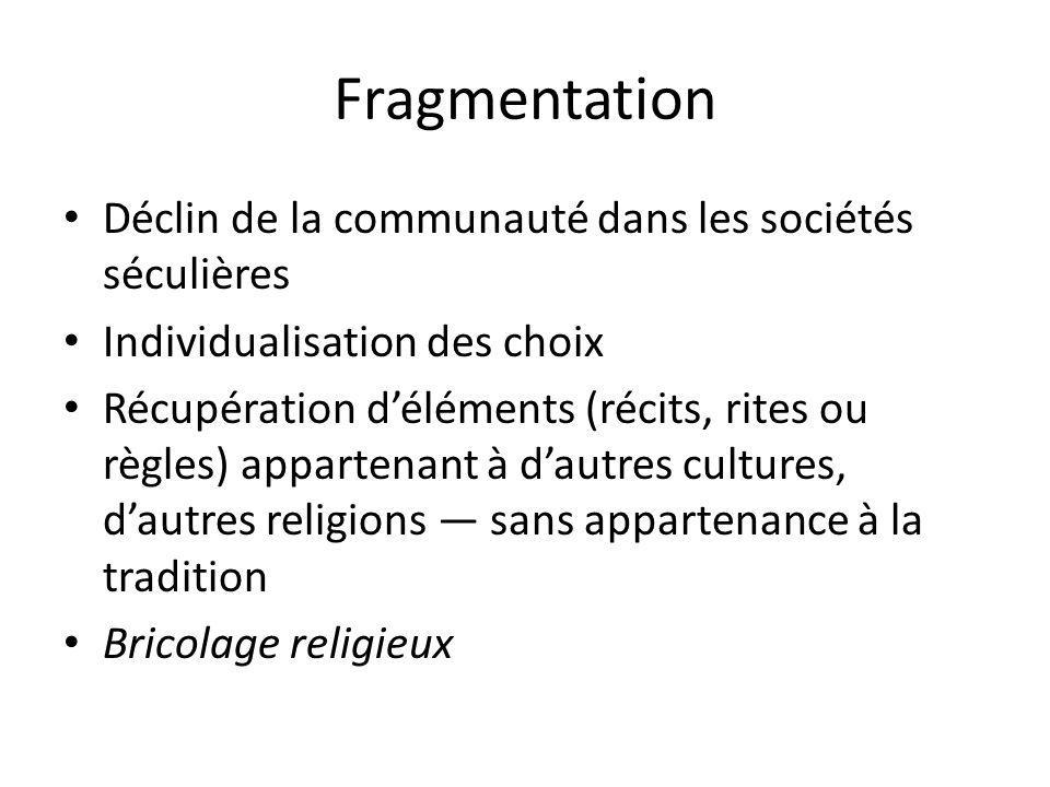 Fragmentation Déclin de la communauté dans les sociétés séculières Individualisation des choix Récupération déléments (récits, rites ou règles) appart
