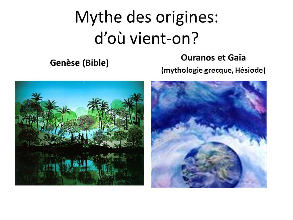 Mythe des origines: doù vient-on? Genèse (Bible) Ouranos et Gaïa (mythologie grecque, Hésiode)