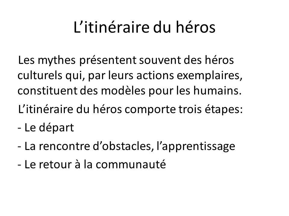 Litinéraire du héros Les mythes présentent souvent des héros culturels qui, par leurs actions exemplaires, constituent des modèles pour les humains. L