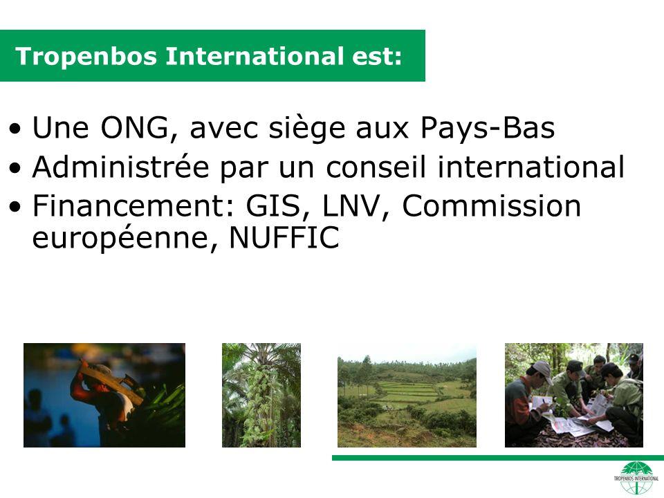 Tropenbos International est: Une ONG, avec siège aux Pays-Bas Administrée par un conseil international Financement: GIS, LNV, Commission européenne, NUFFIC