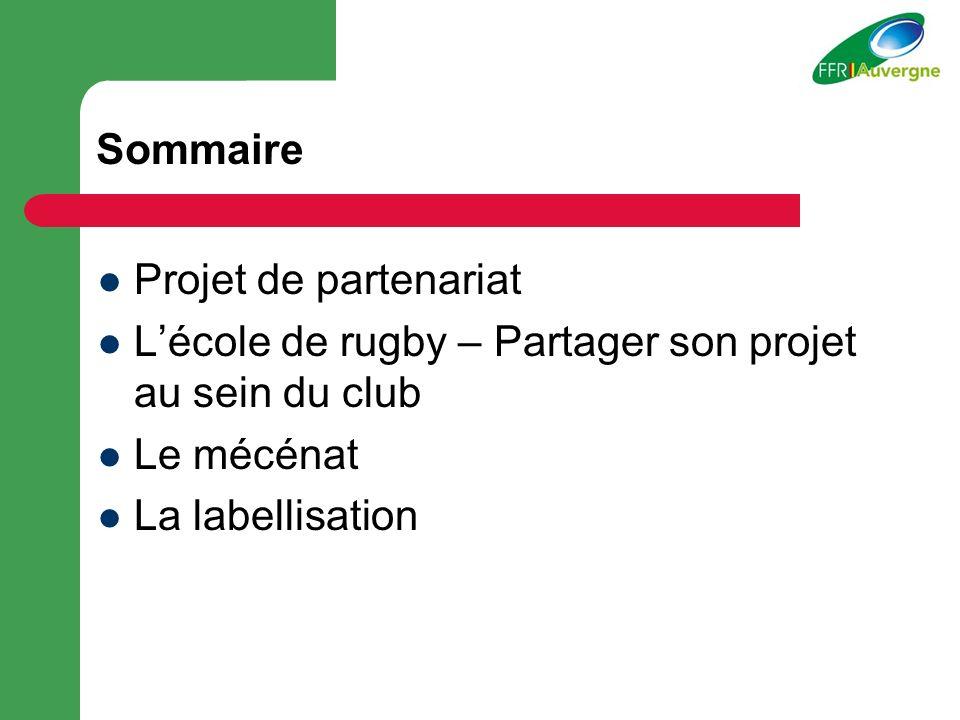 Sommaire Projet de partenariat Lécole de rugby – Partager son projet au sein du club Le mécénat La labellisation