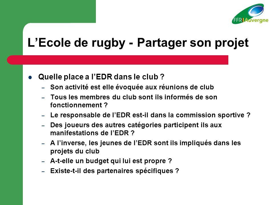 LEcole de rugby - Partager son projet Quelle place a lEDR dans le club .