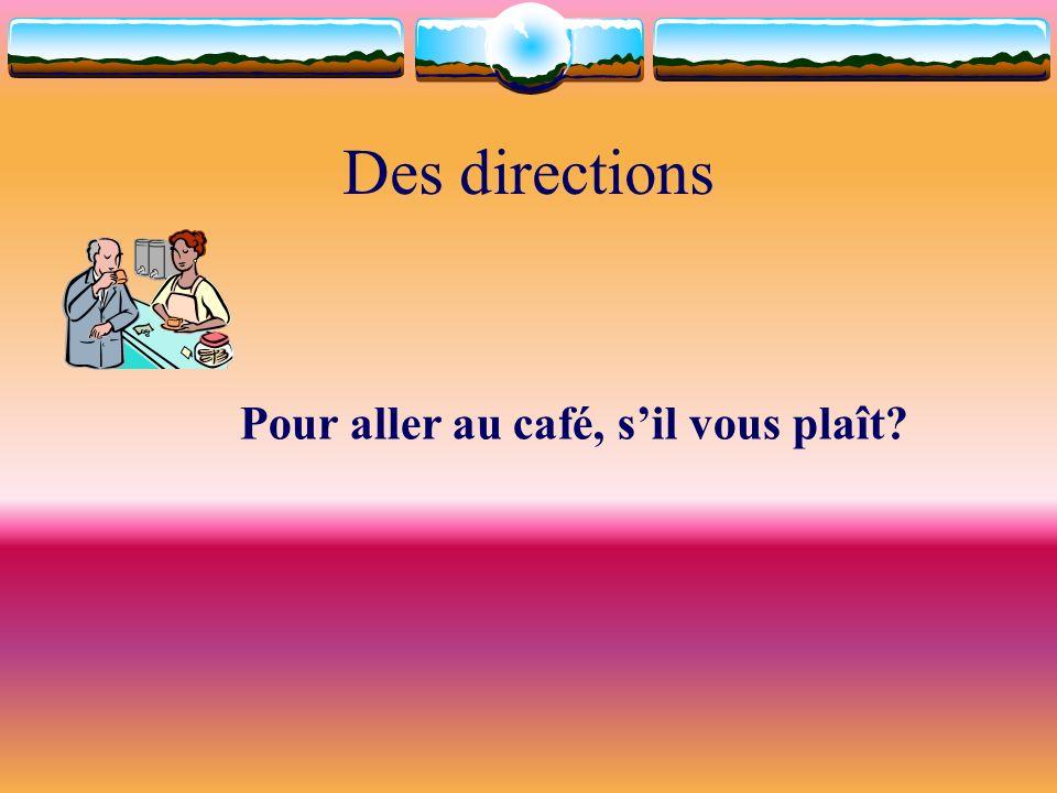 Des directions Pour aller au café, sil vous plaît?