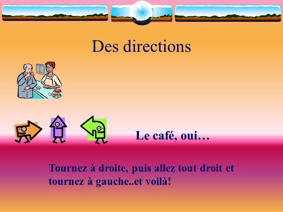 Des directions Le café, oui… Tournez à droite, puis allez tout droit et tournez à gauche..et voilà!
