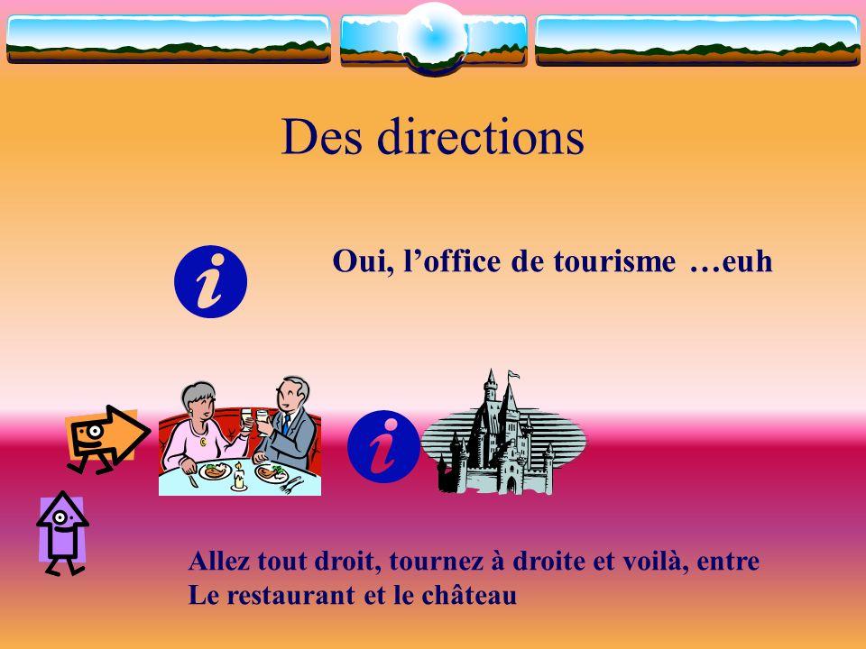 Des directions Oui, loffice de tourisme …euh Allez tout droit, tournez à droite et voilà, entre Le restaurant et le château
