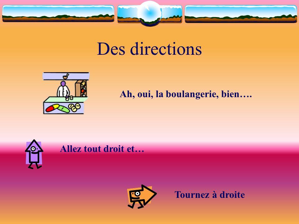 Des directions Ah, oui, la boulangerie, bien…. Allez tout droit et… Tournez à droite