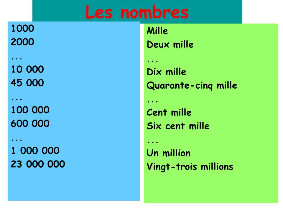 Les nombres 1000 2000... 10 000 45 000... 100 000 600 000... 1 000 000 23 000 000 Mille Deux mille... Dix mille Quarante-cinq mille... Cent mille Six