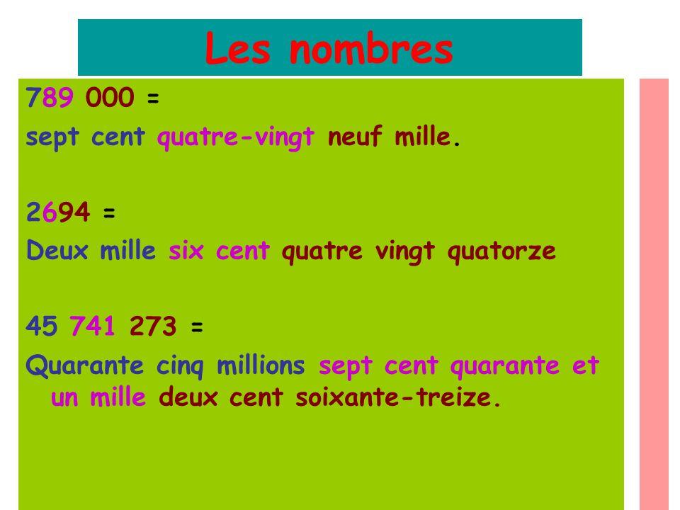 Les nombres 789 000 = sept cent quatre-vingt neuf mille. 2694 = Deux mille six cent quatre vingt quatorze 45 741 273 = Quarante cinq millions sept cen