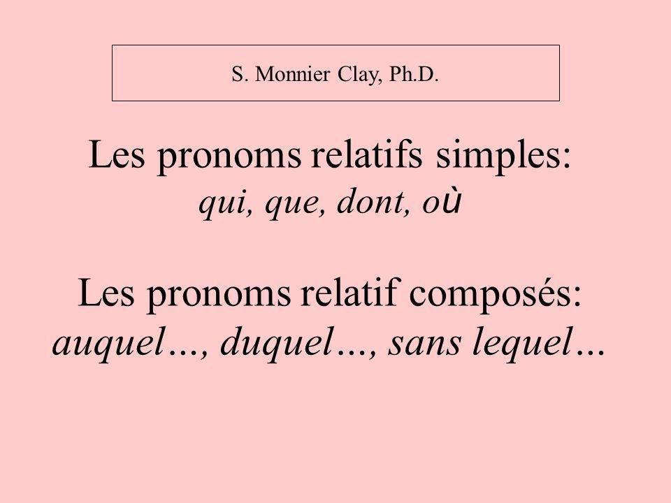 Le pronoms relatif qui: QUI : sujet du verbe (pour une personne ou une chose) -J ai des amis.