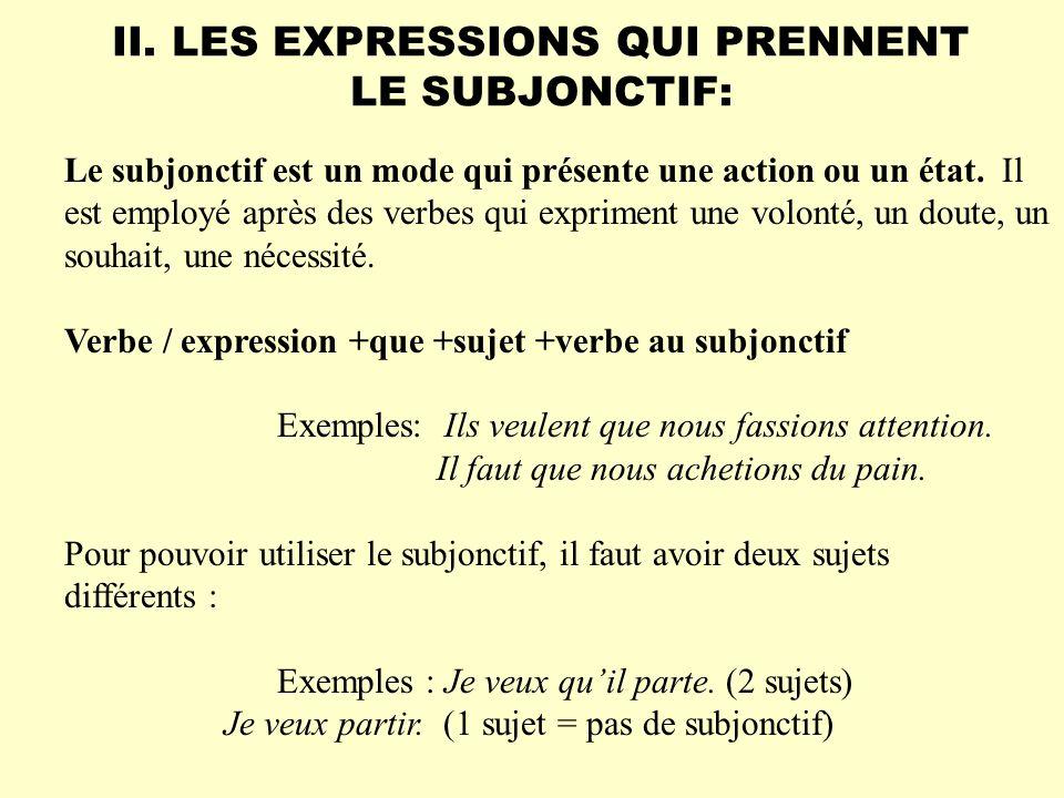 Le subjonctif est employé après les expressions verbales et les verbes suivants qui expriment : a.