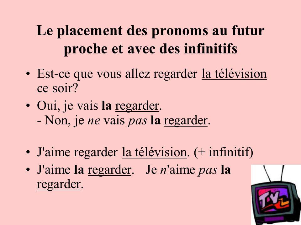 Le placement des pronoms au futur proche et avec des infinitifs Est-ce que vous allez regarder la télévision ce soir? Oui, je vais la regarder. - Non,